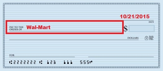 illustration of second step of how to fill out a check with a box around the pay to the order of line on the check