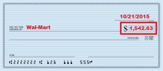 illustration of third step of writing a check with a box around the dollar amount in numbers