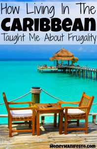 how living in the carribbean taught me about frugality over cafe on the beach looking over ocean, dock and enclosed eating area in distance