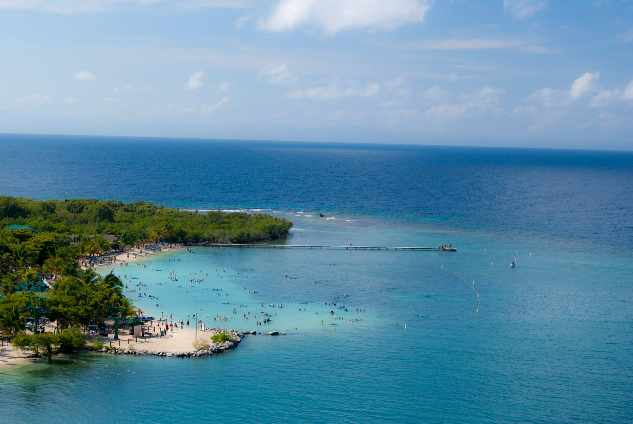 view of beach are of carnival cruise port mahogany bay in roatan honduras