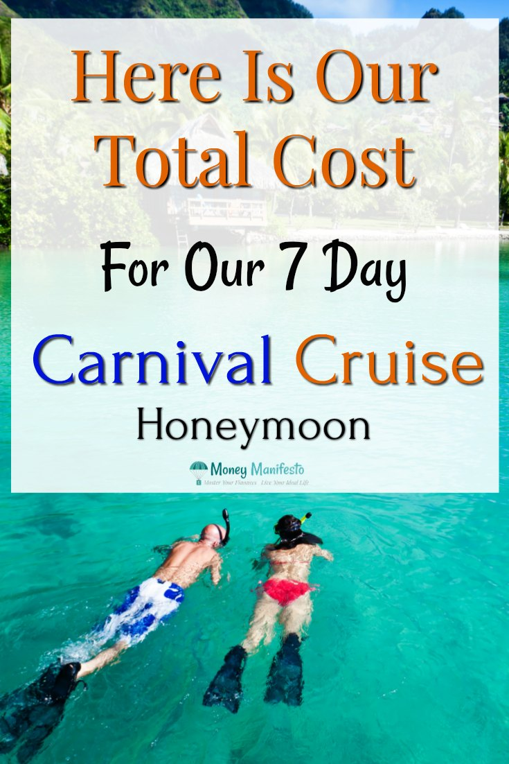 Here is our total cost for our 7 day carnival cruise honeymoon overlayed over couple snorkeling in clear Caribbean water