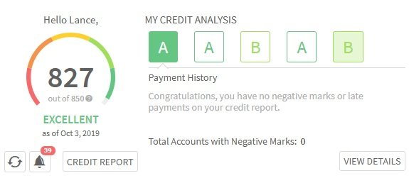 credit sesame dashboard showing credit score and credit analysis