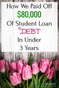 how we paid off $80,000 of student loan debt in under three years above 9 pink tulips on a distressed wood background
