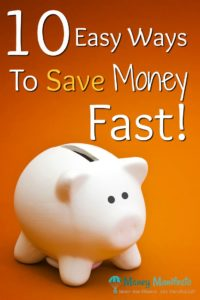 10 easy ways to save money fast above white piggy bank on orange background