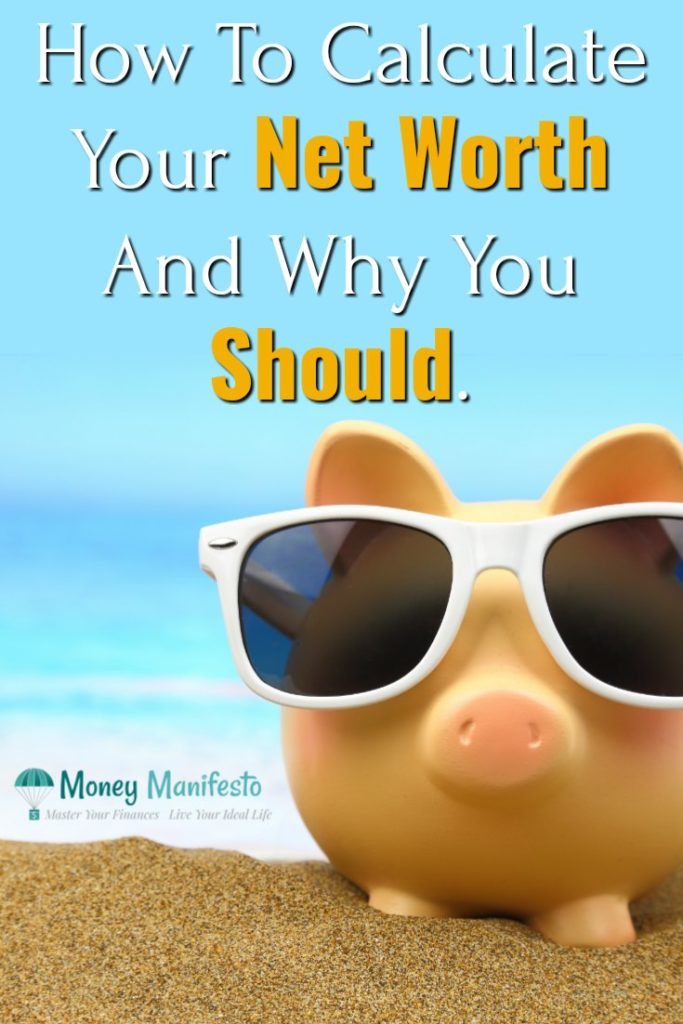 how to calculate your net worth and why you should above piggy bank with sunglasses on beach