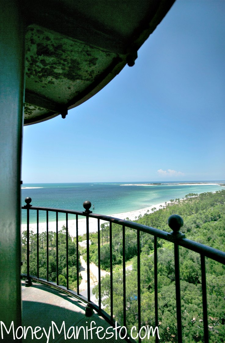view from top of pensacola light house overlooking pensacola beach florida