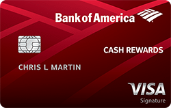 red bank of american cash rewards visa signature credit card card art with emv chip