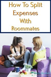 how to split expenses with roommates above two young women talking to each other while sitting on a purple couch