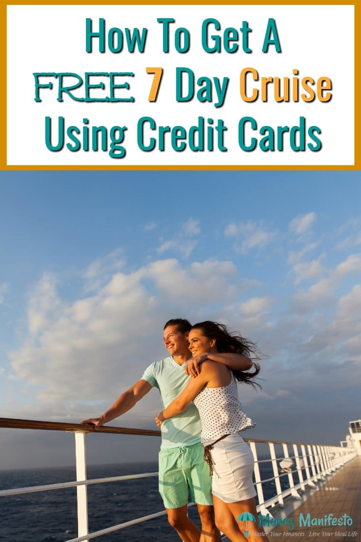how to get a free 7 day cruise using credit cards above happy couple looking over cruise ship railing at water