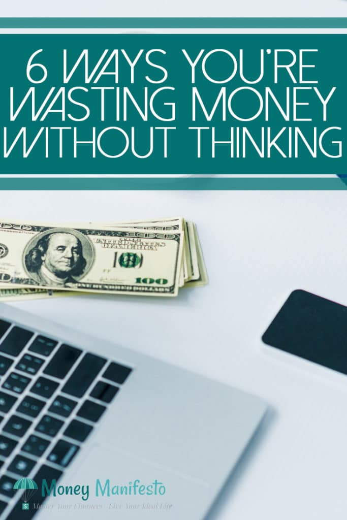 6 ways you're wasting money without thinking above laptop, hundred dollar bills and cell phone on white background