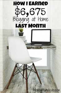 how i earned $6,675 blogging at home last month above workstation with laptop and white chair