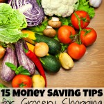 15 money saving tips for grocery shopping on a budget below colorful fresh organic vegetables with water droplets on wood background