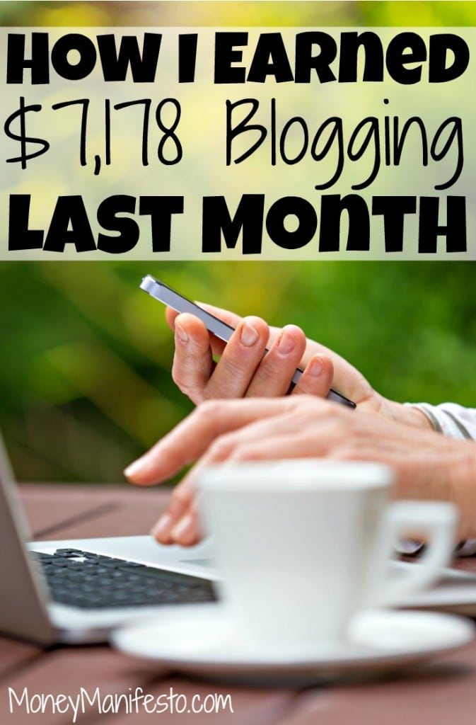 how i earned 7,178 blogging last month above person typing on laptop on table with cup of coffee while holding phone