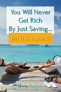 you will never get rich just saving, do this instead overlayed over couple lounging on dock in loungechairs overlooking bright blue Caribbean water