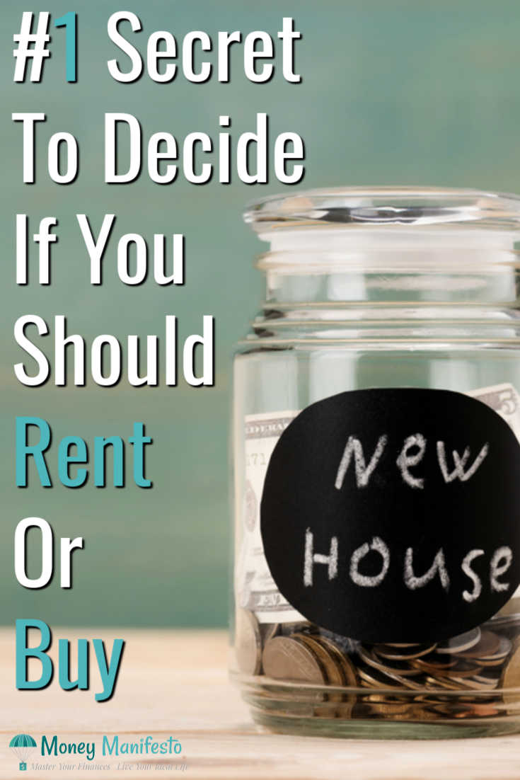 #1 secret to decide if you should rent or buy next to a jar of money labeled new house on a wood table