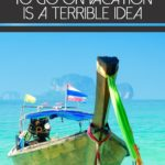 why taking on debt to go on vacation is a terrible idea above boat on clear blue water in island setting