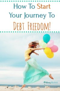 how to start your journey to debt freedom above woman dancing with colorful balloons