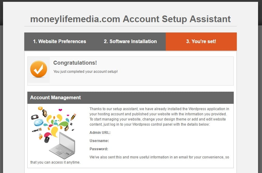 screenshot of fifth step of installing wordpress on siteground web hosting