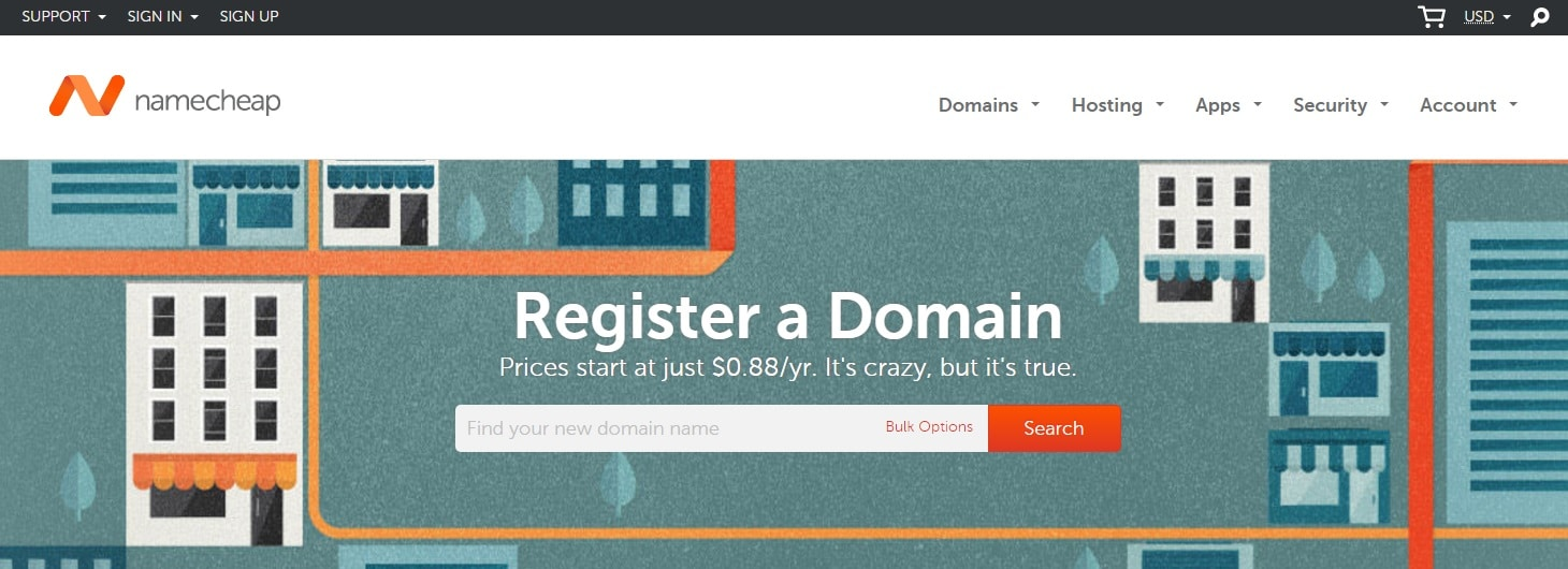 screenshot of first step of purchasing a domain at namecheap