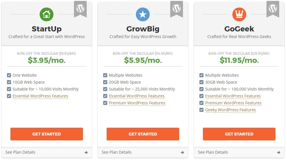 siteground hosting packages for starting a new wordpress blog on siteground