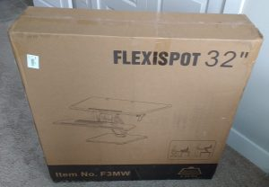 "flexispot sit stand desk riser box as received from shipping 32"" Item no F3MW"