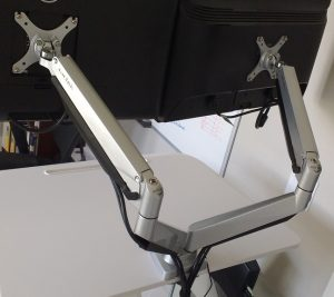 loctek d7d dual monitor mount from back angle with two monitors attached