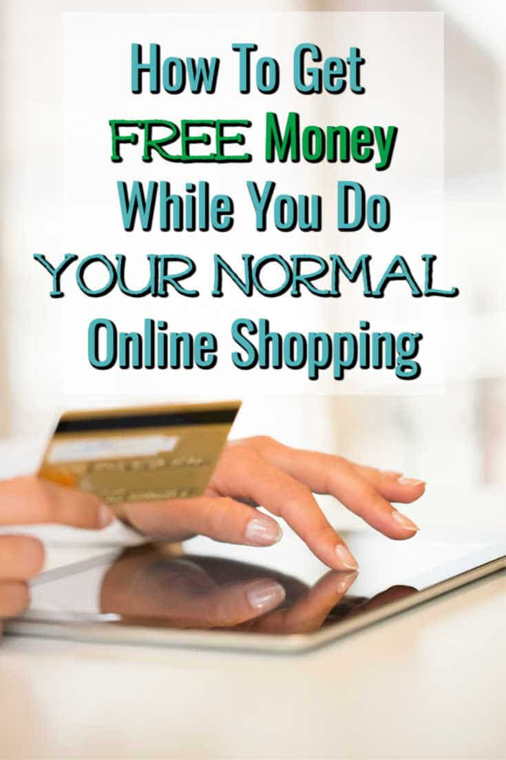 how to get free money while you do your normal online shopping above a hand holding a credit card and another hand using a tablet
