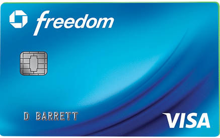 blue chase freedom visa card art with emv chip