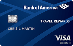 blue bank of america travel rewards visa signature credit card card art with emv chip