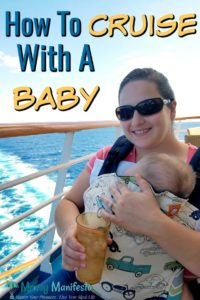 how to cruise with a baby above a mother holding her sleeping child at the back of a cruise ship with wake in the background