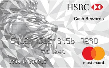hsbc cash rewards mastercard card art with silver lion and emv chip