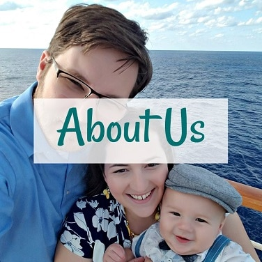 about us overlayed on father, mother and son posing for selfie on a cruise ship on the water