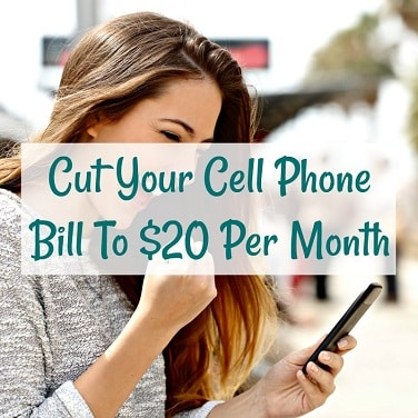cut your cell phone bill to $20 per month overlayed over smiling woman excitedly fist pumping while using cell phone