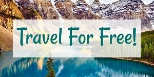 travel for free text overlayed over mountain lake backdrop