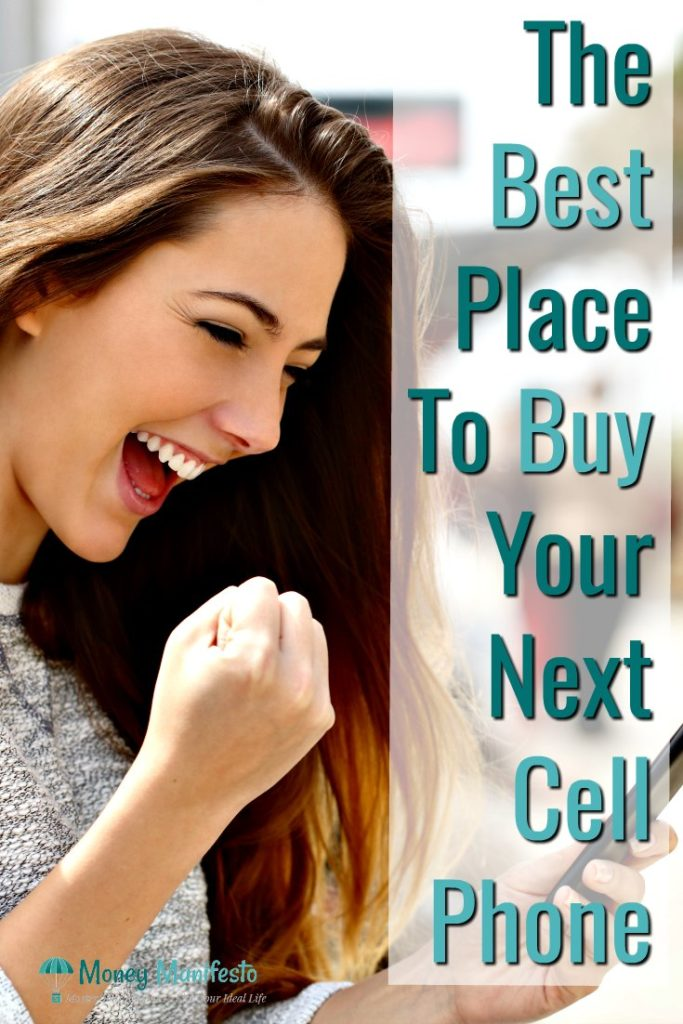 the best place to buy your next cell phone next to excited woman fist pumping