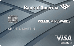 silver bank of america premium rewards visa signature credit card card art with emv chip