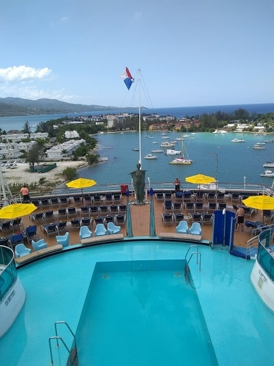 looking at the rear poor on the carnival dream overlooking monetgo bay Jamaica cruise port