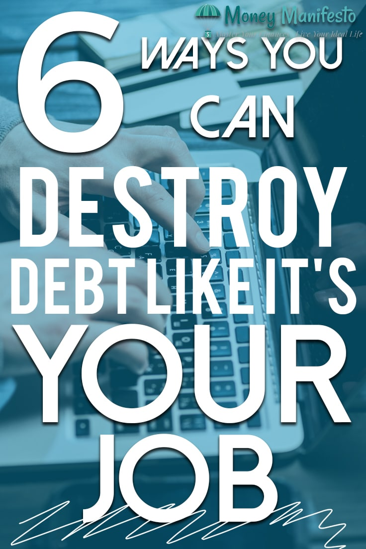 6 ways you can destroy your debt like it's your job over two hands typing on a laptop
