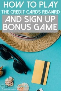 how to play the credit card rewards and sign up bonus game above seashells, credit cards, sunglasses and a hat on a teal background
