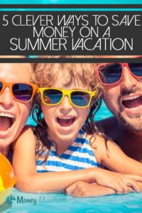 5 clever ways to save money on a summer vacation above mom dad and daughter at pool's edge