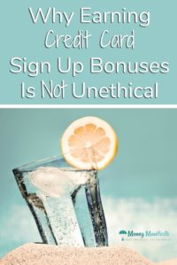 why earning credit card sign up bonuses is not unethical above cup with lemon garnish wedged in sand on the beach
