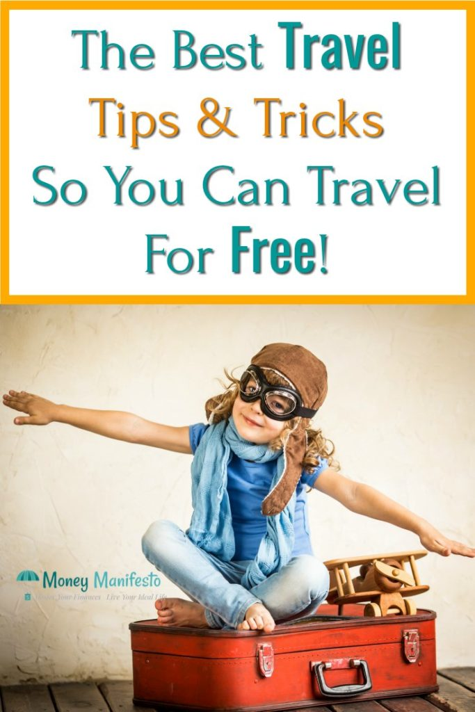 the best travel tips & tricks so you can travel for free above kid pretend flying while sitting in a suitcase