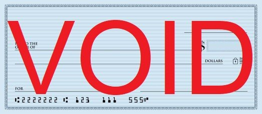 personal check example of how to void a check with the word VOID written over entire surface of check