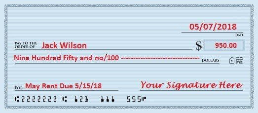 signed personal check example written to landloard jack wilson for $950 for May rent due May 15 2018 dated may 7 2018