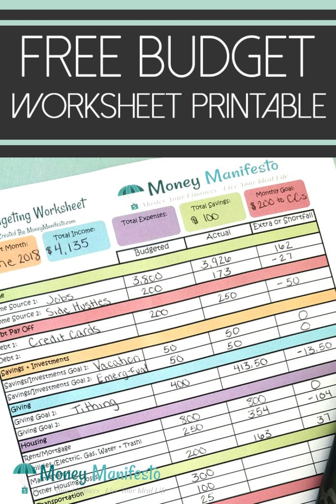 free budget worksheet printable above a filled out monthly budgeting worksheet printable made by money manifesto with pen on top