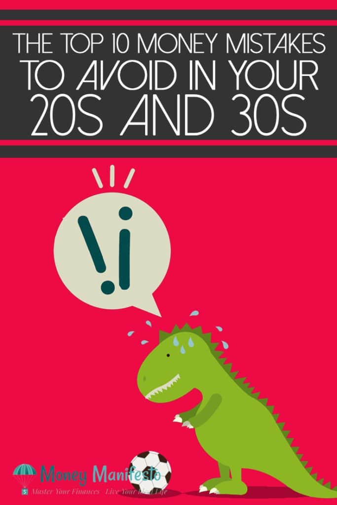 top 10 money mistakes to avoid in your 20s and 30s above t-rex dinosaur kicking a soccer ball on hot pink background