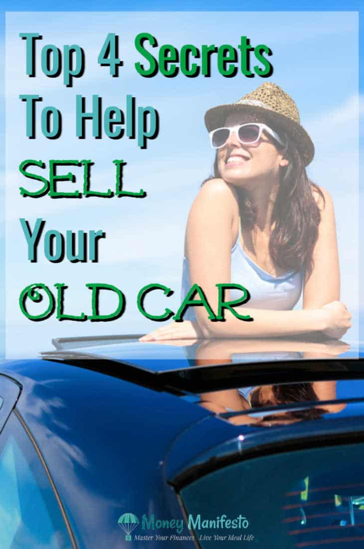 top four secrets to help sell your old car next to woman standing through sunroof of a black car