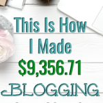 this is how i made $9356.71 blogging last month surrounded by desk objects on white wood background