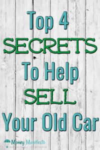 top four secrets to help sell your old car over whitewashed wood background
