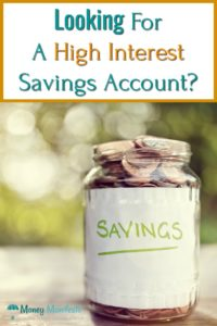Looking for a high interest savings account above a jar full of coins labeled savings